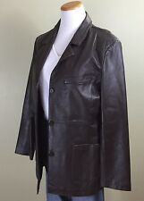 DIALOGUE WOMENS BROWN LEATHER BLAZER JACKET SIZE MEDIUM
