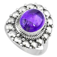 925 Silver 4.25cts Natural Purple Amethyst Solitaire Ring Jewelry Size 7 R73388