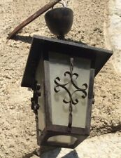 French Welded Porch Light Pendant Vintage Spanish Revival Black Wrought Iron