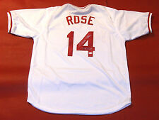 PETE ROSE AUTOGRAPHED CINCINNATI REDS JERSEY HIT KING INSCRIPTION JSA