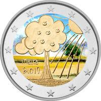 2 Euro Gedenkmünze Malta 2019 Natur & Umwelt coloriert mit Farbe / Farbmünze 1