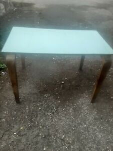"""VINTAGE OLD SCHOOL WOOD AND FORMICA TABLE 1960-70'S 48""""×33""""×30"""" GOOD CONDITION"""
