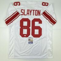 Autographed/Signed DARIUS SLAYTON New York White Football Jersey JSA COA Auto