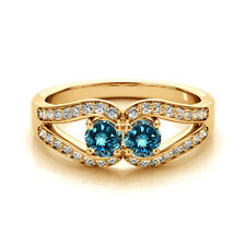 1.25 Cts Blue VS2-SI1 2 Stone Diamond Solitaire Engagement Ring 14k Yellow  Gold