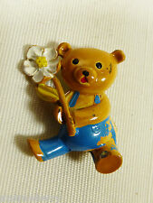Vintage metal Enamel Bear with FLower pin Brooch ~Cute~