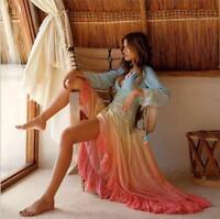 Womens Summer Sexy V Neck Long Sleeve Cropped Maxi Dress Beach Bohemia Dress