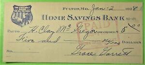 Bank Check by Grace Garrett on Home Savings Bank, Fulton, Mo. Nice Vignette
