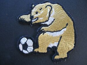 VINTAGE GOLD SOCCER BALL BEAR EMBROIDERED PATCH