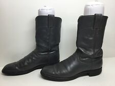 VTG MENS JUSTIN WESTERN ROPER GRAY BOOTS SIZE 8.5 B