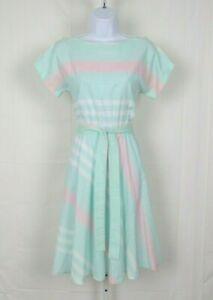 VTG 1960s MOD SAKS FIFTH AVENUE SECRETARY DRESS & BELT PASTEL STRIPES