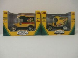 1998 Gearbox Toy Crayola 1912 Ford Delivery Car Coin Bank Series #1 And #2