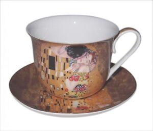 Fine Bone China Gustav Klimt *The Kiss* Breakfast 500cc Cup & Saucer Set NEW