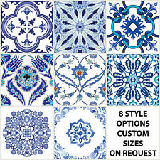 Traditional Tile Stickers Vintage Transfers Kitchen Bathroom Blue All Sizes - T9