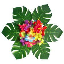 54Pcs Artificial Tropical Palm Leaves Flower Set Hawaiian Simulation Beach Party