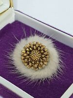 Vintage Mink Fur Brooch Gold Tone Flower Costume Jewellery