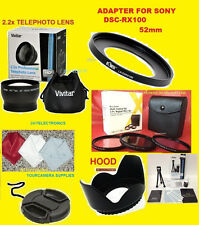 22:2.2x TELEPHOTO LENS 52mm+ADAPTER TO CAMERA SONY DSC-RX100M2 RX100M3 RX100M4