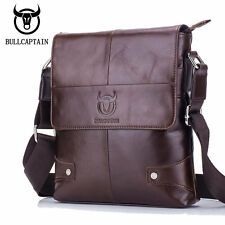 BULL CAPTAIN Men's Leather Crossbody Shoulder Messenger Bag Small Business Bags