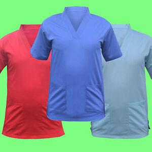 Scrub Medical Uniform Top Women Men Tunic Nurse Hospital Work Wear Medical Tops