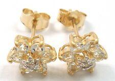 9KT YELLOW GOLD WHITE TOPAZ PLUM BLOSSOM & DIAMOND EARRINGS   E819