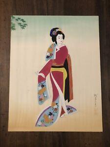 Geisha tempera su seta giapponese Oriente Quadretto dipinto 42x33 cm vintage