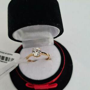 Stunning Diamond Solitaire Ring in 14k gold over Sterling Silver
