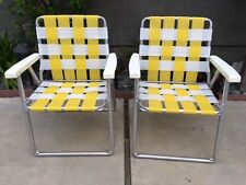 2 Aluminum Webbed Folding Adult Chairs Beach Lawn Patio Lemon Yellow/ White VTG!