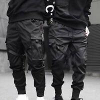 Men Fashion Black Tactical Cargo Harem Pants Joggers Street Hip Hop Trousers