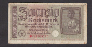 20 REICHSMARK FINE BANKNOTE FROM NAZI GERMAN OCCUPIED TERRITORIES 1940 PICK-R139
