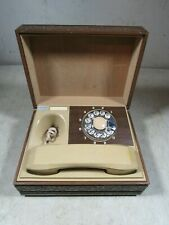 Vintage 1970's Deco-Tel Rotary Dial Personal Telephone Beige Wood Grain Box