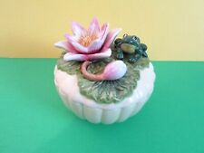 Vintage Fitz and Floyd Frog on Lily Pad W/ Turtle inside