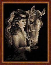 Amazon cheval et cavalier cross stitch kit par riolis 30 x 40cm sur 14 comte aida