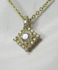 "$3,200 Judith Ripka JR Diamond 18K Gold Pendant 17"" Necklace Women Lady Gift"