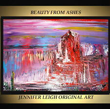 "ORIGINAL LARGE ABSTRACT CONTEMPORARY MODERN ART PAINTING Mountains 36x24"" JLEIGH"