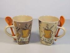 TassenTasse mit Löffel 0,25 L, Keramik, Mehrfarbig, NoName und Set Größe 2