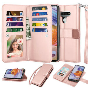 For LG Stylo 6 Card Slots Leather Wallet Flip Holder Stand Case Cover With Strap