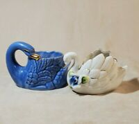 Miniature Swan Duck Toothpick Holders/Planters Porcelain Vintage Decor Lot of 2