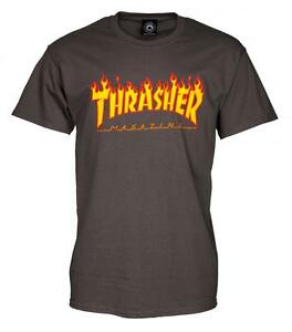 THRASHER T SHIRT FLAME MAG LOGO CHARCOAL