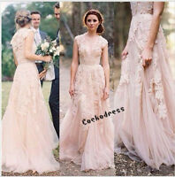 Blush/Pink V Neck Appliques Tulle Wedding Dress Cap Sleeve A Line Bridal Gown