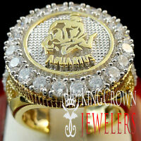 Men 10K Yellow Gold Silver Lab Diamond Aquarius Water Zodiac Designer Pinky Ring