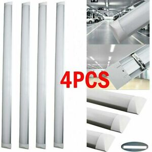 4PCS 4FT 120CM LED Batten Tube Light For Garage Workshop Ceiling Panel Dimmable