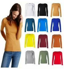 Best Women Ladies Plain Basic Long Sleeve Round Neck Stretch Polo T- Shirt Top