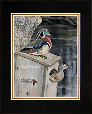 "Matted Wood Duck Art Print ""Frank's Pair"" Waterfowl Duck Box By Roby Baer PSA"