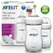 New Philips Avent Natural 260ml/9oz Twin Pack Baby Feeding Bottle Set SCF693/27