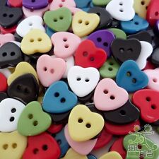 20/50/200pcs Mixed Colors Heart Plastic Buttons Lot 11MM Craft Sewing DIY Cards