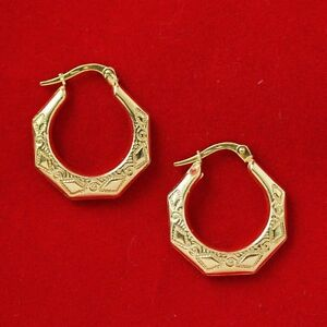 NEW 9ct Yellow Gold Hoop Earrings Hallmarked 375 Made Italy Hexagon 1.8cm Wide