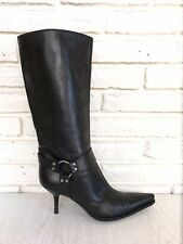 Sergio Rossi Black Leather Tall Motorcycle Boots Size 8.5 Knee High Heel