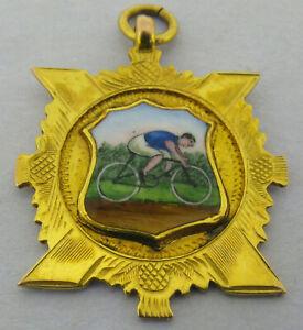 Antique Scottish 9ct Gold & Enamel Cycling Fob Medal Bir 1932 Boxed