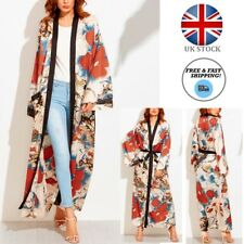 UK Ladies Women's Japanese Style Nylon Flower Print Kimono Long Coat Jacket+Belt