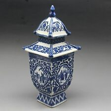 China Blue and white Porcelain Hand Painting Layered Tower Vase w Qianlong Mark