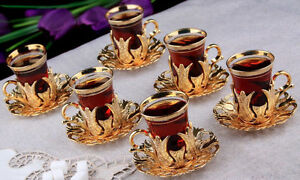 Turkish Tea Set (of 6) Copper Holder Glass Cups Ottoman Tulips Gold / Silver